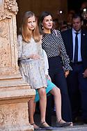 Crown Princess Leonor, Princess Sofia, Queen Letizia of Spain leave the Cathedral of Palma de Mallorca after Easter Mass on April 1, 2018 in Palma de Mallorca, Spain