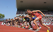 The start of the 3,000m during IAAF Birmingham Diamond League meeting at Alexander Stadium on Sunday, June 5, 2016, in Birmingham, United Kingdom. Mo Farah (GBR) won in a national record 7:32.62. Photo by Jiro Mochizuki