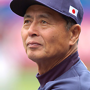 Team Japan manager Sadaharu Oh looks on during warm-ups beofre the start of the game against Team USA during the World Baseball Classic.