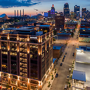Kansas City Missouri, downtown and Corrigan Station in foreground.