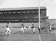 Down goalie catches the ball in the All Ireland Senior Gaelic Football Final Down v. Offaly in Croke Park on the 24th September 1961.