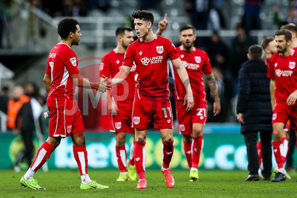 Korey Smith and Callum O'Dowda of Bristol City shake hands after the game ends 2-2 with City having led 0-2 at half time - Rogan Thomson/JMP - 25/02/2017 - FOOTBALL - St James' Park - Newcastle, England - Newcastle United v Bristol City - Sky Bet EFL Championship.