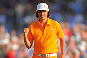 Rickie Fowler celebrates winning the Wells Fargo Championship at the Quail Hollow Club on May 6, 2012 in Charlotte, N.C. Fowler won in a three-way playoff with Rory McIllroy and D.A. Points...©2012 Scott A. Miller.