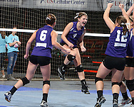Stanton's Carmen Subbert (4) is pumped up after a score during the first game of their 1A semifinal match in the state volleyball tournament at the U.S. Cellular Center at 370 1st Ave E on Friday evening, November 12, 2010. (Stephen Mally/Freelance)