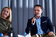 Warsaw, Poland - 2017 April 07: (R) Tomasz Boruc - World Champion in Kyokushin Karate and Health Manager speaks while The Day of Health - science conference in the National Library on April 07, 2017 in Warsaw, Poland.<br /> <br /> Mandatory credit:<br /> Photo by © © Adam Nurkiewicz / Mediasport / Mediasport<br /> <br /> Picture also available in RAW (NEF) or TIFF format on special request.<br /> <br /> Any editorial, commercial or promotional use requires written permission from the author of image.<br /> <br /> Adam Nurkiewicz declares that he has no rights to the image of people at the photographs of his authorship.