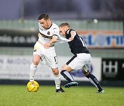 Dumbarton's Jon Routledge Falkirk's Craig Sibbald. <br /> Half time : Falkirk 1 v 0 Dumbarton, Scottish Championship game played 26/12/2015 at The Falkirk Stadium.