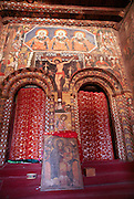 Africa, Ethiopia, Gondar Painted ceiling in the Church of Debre Birhan Selassie religious art painting