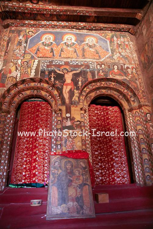 Africa, Ethiopia, Gondar Painted ceiling in the Church of Debre Birhan Selassie religious art painting