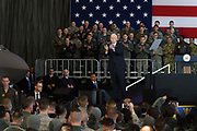 US Vice President Mike Pence gestures to US troops at Yokota Air Base in Tokyo, Japan, 08 February 2018. Pence is in Japan before heading to South Korea for the Winter Olympics. 08/02/2018-Fussa, JAPAN