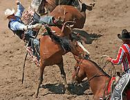 Bareback Rider Yvan Pierce Jayne scores an 84 riding 085 Big BR,  Championship Sunday, 29 July 2007, Cheyenne Frontier Days