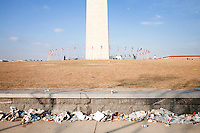 20 January, 2009. Washington, DC.<br /> Trash was left here at the National Mall, in front of the Washington Monument, after they attend President Obama's address. About 2 millions of people gathered at the National Mall in Washington D.C. for the inauguration of the 44th President of the United States, Barack Obama. Obama, the nation's first black chief executive, told the nation in his address that shared sacrifice would be necessary to return to peace and posperity.<br /> ©2009 Gianni Cipriano<br /> cell. +1 646 465 2168 (USA)<br /> cell. +1 328 567 7923 (Italy)<br /> gianni@giannicipriano.com<br /> www.giannicipriano.com