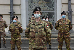 A soldier of the Italian army wearing a protective mask during the presentation of the army team that will participate in the disinfection of facilities and help the medics. on April 27, 2020 in Turin, Italy. Photo by Massimo Rana/Eyepix/ABACAPRESS.COM
