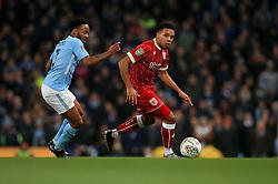 Korey Smith of Bristol City battles for the ball with  Raheem Sterling of Manchester City  - Mandatory by-line: Matt McNulty/JMP - 09/01/2018 - FOOTBALL - Etihad Stadium - Manchester, England - Manchester City v Bristol City - Carabao Cup Semi-Final First Leg