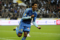 FOOTBALL - FRENCH LEAGUE CUP 2011/2012 - FINAL - OLYMPIQUE LYONNAIS v OLYMPIQUE MARSEILLE - 14/04/2012 - PHOTO JEAN MARIE HERVIO / REGAMEDIA / DPPI - JOY BRANDAO (OM) AFTER HIS GOAL
