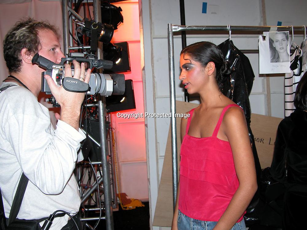 Camila Alves <br />Manuel Fernandez Fashion Show Backstage<br />Josephine Tent, Bryant Park<br />New York City, NY, USA<br />Friday, September, 12, 2003<br />Photo By Celebrityvibe.com/Photovibe.com