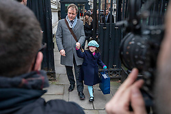 © Licensed to London News Pictures. 23/01/2020. London, UK. Richard Ratcliffe with his daughter Gabriella leave Downing Street through security gates after meeting the Prime Minister. They had a meeting with Boris Johnson for further discussion on the plight of his wife Nazani Zaghari-Ratcliffe who remains in prison in Iran. Nazani a dual-national British-Iranian, has been in detention in Tehran since her arrest on 3 April 2016. Photo credit: Alex Lentati/LNP