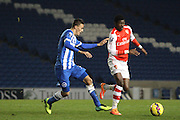 Ainsley Maitland Niles and Robert Hunt during the Barclays U21 Premier League match between Brighton U21 and Arsenal U21 at the American Express Community Stadium, Brighton and Hove, England on 1 December 2014.