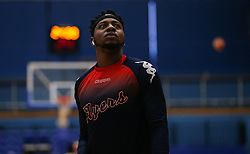 Panos Mayindombe of Bristol Flyers during the warm up - Photo mandatory by-line: Arron Gent/JMP - 28/09/2019 - BASKETBALL - Crystal Palace National Sports Centre - London, England - London City Royals v Bristol Flyers - British Basketball League Cup