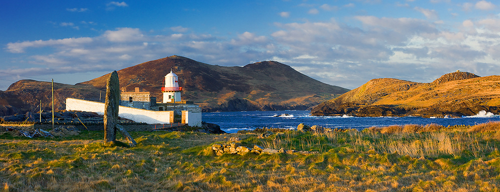 Panoramic Valentia Island Lighthouse at Sunset County Kerry Ireland / vl165
