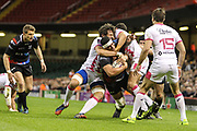 Ospreys centre Josh Matavesi is tackled during the European Challenge Cup match between Ospreys and Stade Francais at Principality Stadium, Cardiff, Wales on 2 April 2017. Photo by Andrew Lewis.