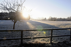 © Licensed to London News Pictures. 17/01/2013.The UK has woken up this morning to freezing temperatures as the cold weather continues today (17.01.13). Freezing views of Kent from Cray Valley Golf Club in Orpington..Photo credit : Grant Falvey/LNP