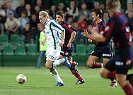 n/z.: Sebastian Mila (nr22-Grodzisk) , Maciej Terlecki (nr7-Pogon) , Michal Labedzki (nr22-Pogon) podczas meczu ekstraklasy Groclin Grodzisk Wielkopolski (biale) - Pogon Szczecin (bordowo-niebieskie pasy) 2:0 , I liga polska , 3 kolejka sezon 2004/2005 , pilka nozna , Polska , Grodzisk Wielkopolski , 27-08-2004 , fot.: Adam Nurkiewicz / mediasport..Sebastian Mila (nr22-Grodzisk) , Maciej Terlecki (nr7-Pogon) , Michal Labedzki (nr22-Pogon) fight for the ball in Polish league first division soccer match in Grodzisk Wielkopolski. August 27, 2004. Groclin Grodzisk Wielkopolski (white) - Pogon Szczecin (red-blue stripes) 2:0 , 3  round season 2004/2005 , Poland , Grodzisk Wielkopolski ( Photo by Adam Nurkiewicz / mediasport )