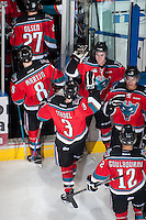 KELOWNA, CANADA - NOVEMBER 3:  The Kelowna Rockets celebrate a win against the Prince George Cougars with a score of 5-0 and a shut out for goalie Jackson Whistle #1 at the Kelowna Rockets on November 3, 2012 at Prospera Place in Kelowna, British Columbia, Canada (Photo by Marissa Baecker/Shoot the Breeze) *** Local Caption ***