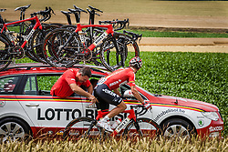 Gregory Henderson (NZL,LTB) getting bike adjustments, Tour de France, Stage 4: Le Tourquet-Paris-Plage > Lille Metropole, UCI WorldTour, 2.UWT, Bimont, France, 8th July 2014, Photo by Pim Nijland / PelotonPhotos.com