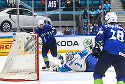 Anze Kuralt of Slovenia celebrates after scoring a goal and Henrik Karlsson of Kazakhstan during ice hockey match between Slovenia and Kazakhstan at IIHF World Championship DIV. I Group A Kazakhstan 2019, on April 29, 2019 in Barys Arena, Nur-Sultan, Kazakhstan. Photo by Matic Klansek Velej / Sportida