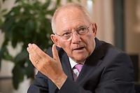 17 DEC 2014, BERLIN/GERMANY:<br /> Wolfgang Schaeuble, CDU, Bundesfinanzminister, waehrend einem Interview, in seinem Buero, Bundesministerium der Finanzen<br /> IMAGE: 20141217-01-006<br /> KEYWORDS: Wolfgang Schäuble