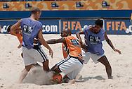 Football-FIFA Beach SoccerWorld Cup 2006- Group A- BRA-Official training in Rio's Arena. Junior Neg‹o defends the from his team mates at a training session. Rio de Janeiro. Brazil- 01/11/2006.<br />Mandatory credit-FIFA/ Marco Antonio Rezende.