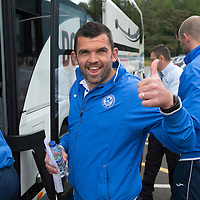St Johnstone FC depart McDiarmid Park in Perth for the William Hill Scottish Cup Final....16.05.15<br /> Thumbs-up from Assistant Manager Callum Davidson as he boards the coach heading for their hotel in Glasgow.<br /> Picture by Graeme Hart.<br /> Copyright Perthshire Picture Agency<br /> Tel: 01738 623350  Mobile: 07990 594431