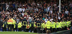 17th August 2017 - UEFA Europa League - Play-Off (1st Leg) - Everton v Hajduk Split - Stewards and police officers struggle to contain the Hajduk fans - Photo: Simon Stacpoole / Offside.