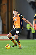 Jake Livermore of Hull City kicks ball forward  during the Sky Bet Championship match between Hull City and Derby County at the KC Stadium, Kingston upon Hull, England on 27 November 2015. Photo by Ian Lyall.