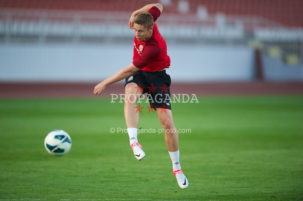 NOVI SAD, SERBIA - Monday, September 10, 2012: Wales' Simon Church during a training session at the Karadorde Stadium ahead of the 2014 FIFA World Cup Brazil Qualifying Group A match against Serbia. (Pic by David Rawcliffe/Propaganda)