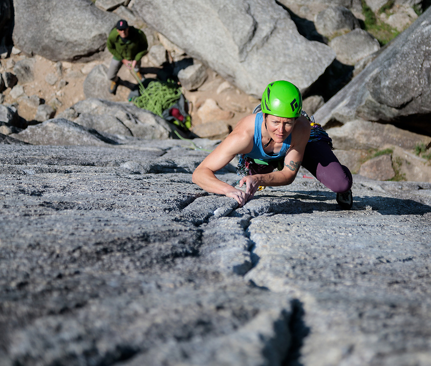 Marsha Hamilton climbing Flying Circus in Squamish, BC