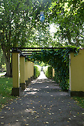 Trees and a vine-covered arbour provide a shady place to walk on a sunny day at Taxinge Slott, a privately owned castle 60 kilometres south of Stockholm, Sweden