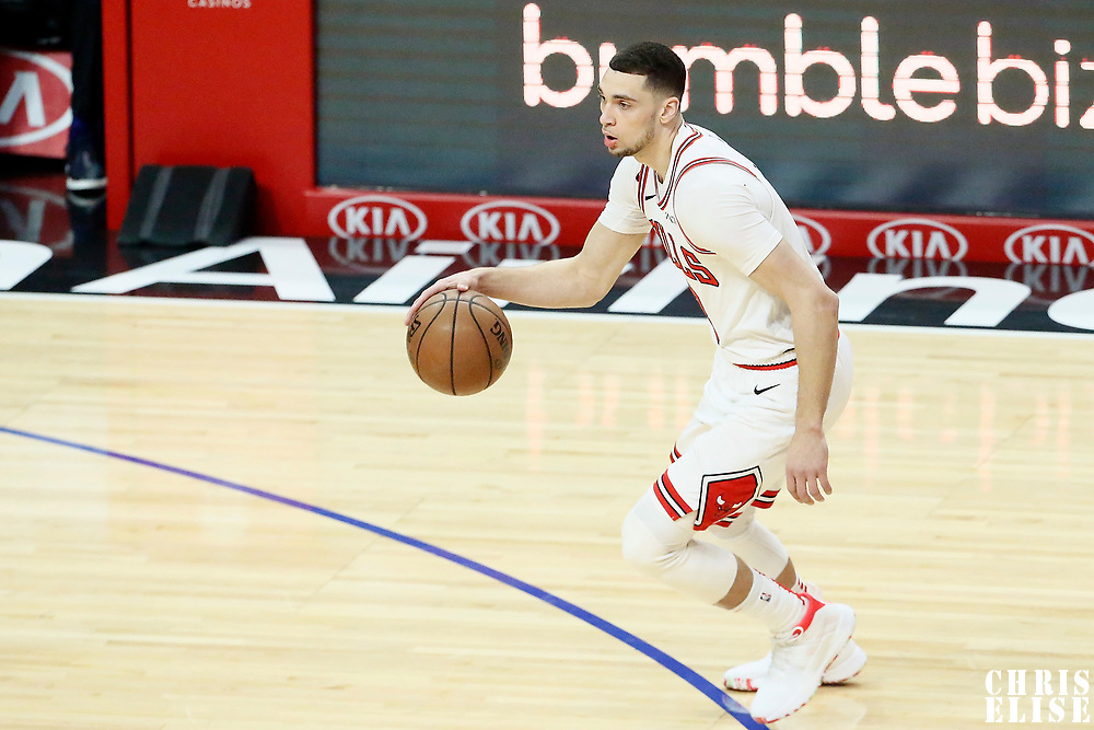 LOS ANGELES, CA - MAR 15: Zach LaVine (8) of the Chicago Bulls handles the ball during a game on March 15, 2019 at the Staples Center, in Los Angeles, California.