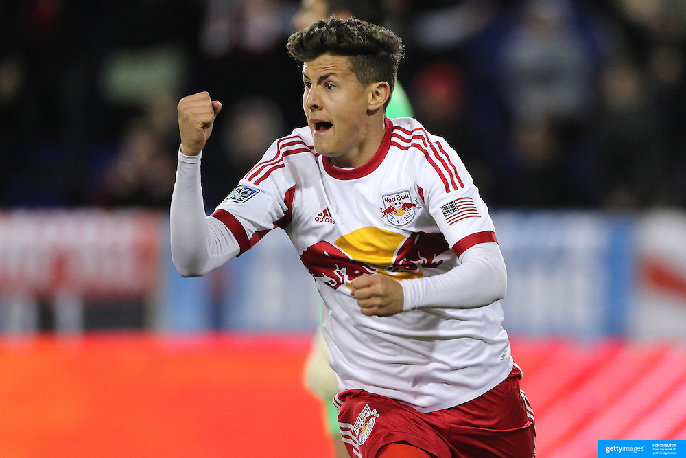 Ruben Bover, New York Red Bulls, celebrates after putting the ball in the net after Thierry Henry was fouled in the penalty area. The referee awarded a penalty robbing the youngsters of a goal during the New York Red Bulls V Houston Dynamo, Major League Soccer regular season match at Red Bull Arena, Harrison, New Jersey. USA. 23rd April 2014. Photo Tim Clayton