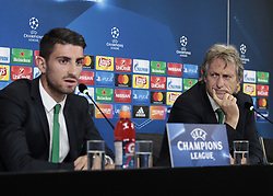 October 17, 2017 - Turin, Italy - Cristiano Piccini and Jorge Jesus during the Champions League press conference before the match between Juventus and Sporrting Clube de Portugal, in Turin, on October 17, 2017  (Credit Image: © Loris Roselli/NurPhoto via ZUMA Press)