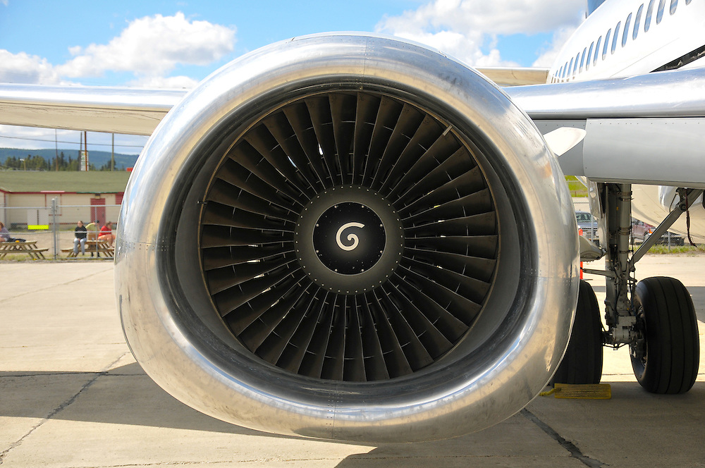Frontal view of the CFM-56 jet engine.