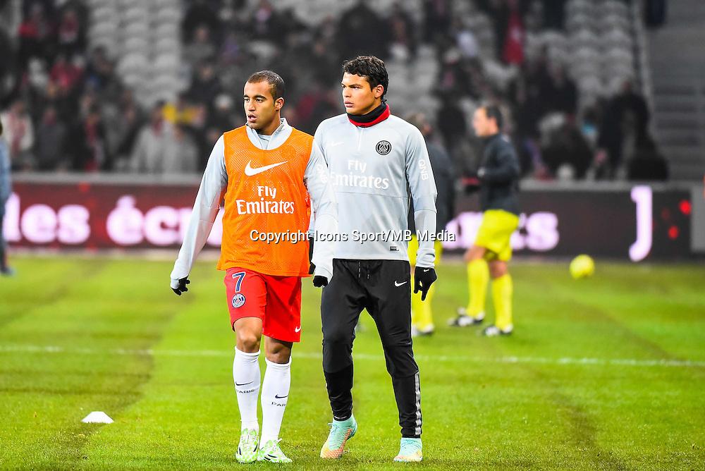 Lucas MOURA / Thiago SILVA - 03.12.2014 - Lille / Paris Saint Germain - 16eme journee de Ligue 1 -<br />Photo : Fred Porcu / Icon Sport