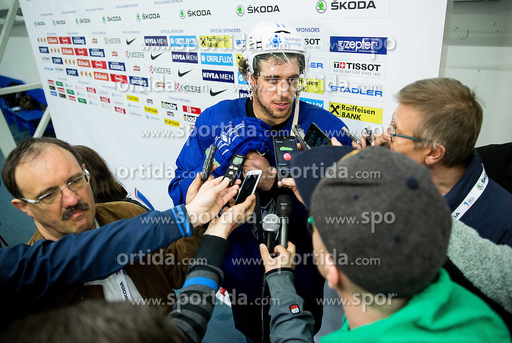 Anze Kopitar of Slovenia with journalists  after the practice session of Slovenian Ice Hockey National Team at Day 4 of 2015 IIHF World Championship, on May 4, 2015 in Practice arena Vitkovice, Ostrava, Czech Republic. Photo by Vid Ponikvar / Sportida