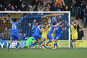 AFC Wimbledon defender Sean Kelly (22) celebrating scoring goal 2-1 during the EFL Sky Bet League 1 match between AFC Wimbledon and Oxford United at the Cherry Red Records Stadium, Kingston, England on 14 January 2017. Photo by Matthew Redman.