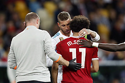 (L-R) Sergio Ramos of Real Madrid, Mohamed Salah of Liverpool FC during the UEFA Champions League final between Real Madrid and Liverpool on May 26, 2018 at NSC Olimpiyskiy Stadium in Kyiv, Ukraine