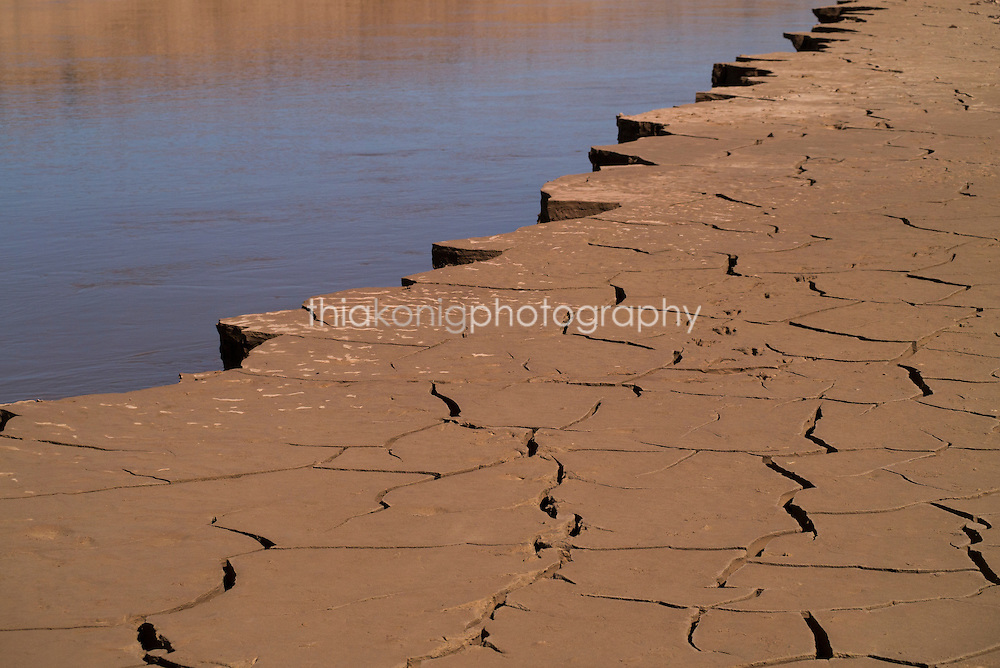 Cracked mud on the Colorada River shoreline, Grand Canyon, AZ