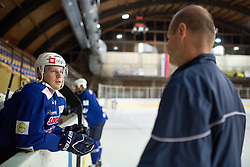 Jan Mursak talking to assistant coach Nik Zupancic at first practice of Slovenian National Ice Hockey team before EIHC tournament in Innsbruck, on November 4, 2013 in Ledena dvorana Bled, Bled, Slovenia. (Photo by Matic Klansek Velej / Sportida.com)