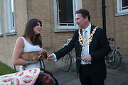 JANE MCGILL; WINSTON; THE MAYOR OF WANDSWORTH COUNCILLOR ADRIAN KNOWLES;  Pop-UP Horsebox Gallery Preview of the Celebration of the Horse in art today  at the Wandsworth Museum,  West Hill. London SW18. 14 August 2012.