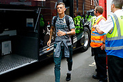 Leeds United defender Ben White (5), on loan from Brighton & Hove Albion, arriving during the EFL Sky Bet Championship match between Bristol City and Leeds United at Ashton Gate, Bristol, England on 4 August 2019.