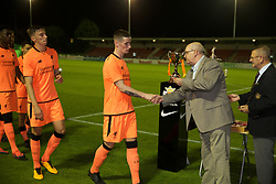 LEYLAND, ENGLAND - Friday, September 1, 2017: Liverpool's captain Corey Whelan receives his winners' medal after beating Fleetwood Town on penalties to win the Lancashire Senior Cup Final match between Fleetwood Town and Liverpool Under-23's at the County Ground. (Pic by Propaganda)